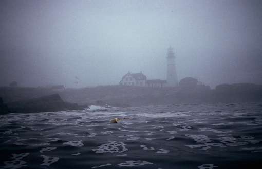 Portland Head Light in thick fog